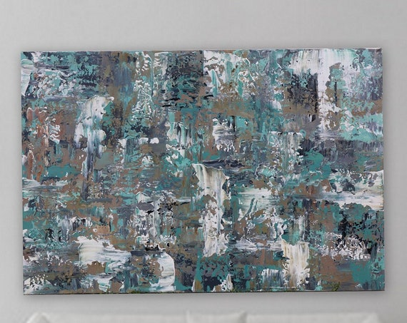 "36 x 24 ""In the Calm"" Large turquoise gray blue brown tan white original abstract modern painting gallery wrapped large abstract painting"