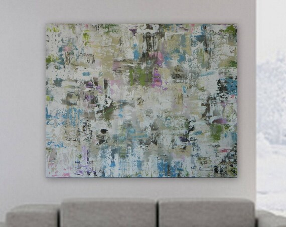 Blue green purple pastel painting original wall art Custom painting Marcy Chapman Modern Abstract silver, blue green pink white