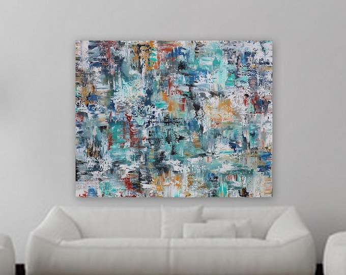 large abstract painting blue yellow orange xl abstract large art huge painting xxl original large blue painting marcy chapman