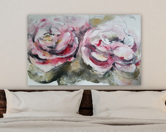 Large original acrylic fluid art abstract painting of flowers pink girls bedroom decor living room floral painting pink flowers canvas