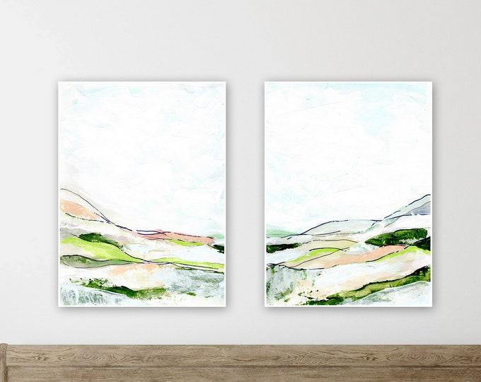 NEW minimal green abstract landscape print, set of two, green, pink gray blue abstract landscape print farmhouse style wall decore