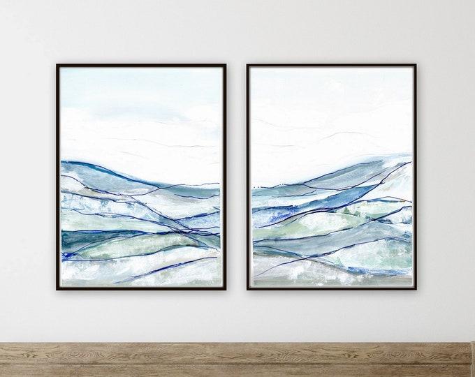 NEW minimal blue  landscape print, set of two, abstract print, blue and white, abstract landscape print farmhouse style wall decore