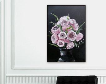 Large pink and black floral painting, pink chrysanthemum, mums. flower artworl, original painting wall art, modern wall art beautiful floral