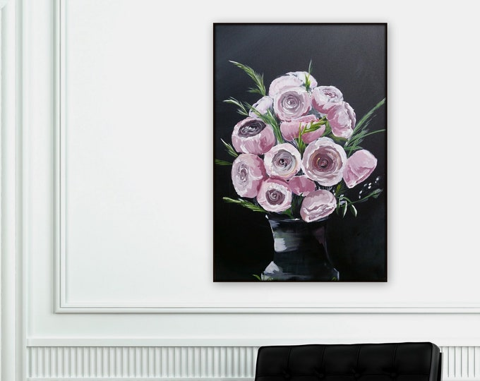 Large pink and black floral painting, pink chrysanthemum, mums. flower artworl, original painting wall art, modern wall art beautiful floral