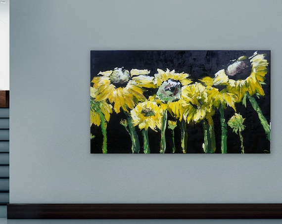 XL Sunflower painting, black and yellow art, wall art, home decor, huge abstract painting, semirealism