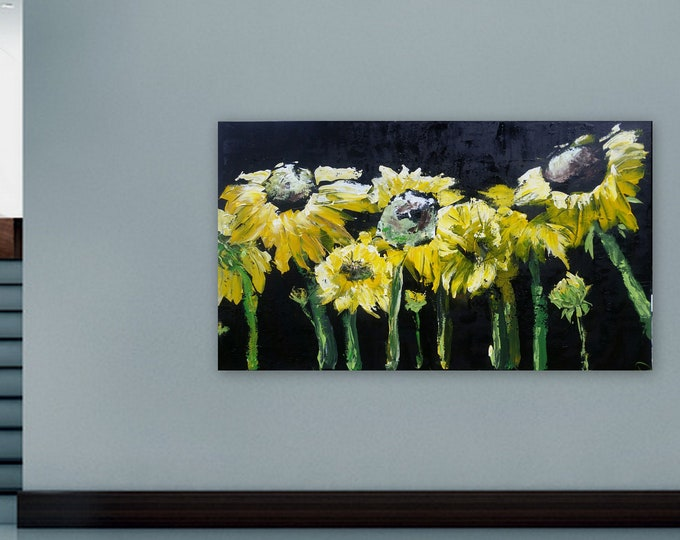 XL Sunflower painting, black and yellow art, wall art, home decor, huge abstract painting,marcy chapman original painting, huge paintings
