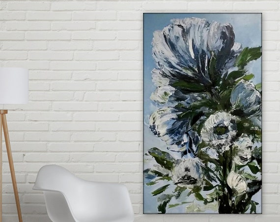 Large Blue Floral Paintings, Orignal art, large floral art, huge flower painting, acbstract flower vertical painting Marcy Chapman