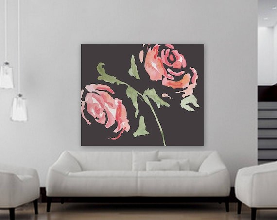 Large Custom order floral painting Flower artwork Pink and black rose painting