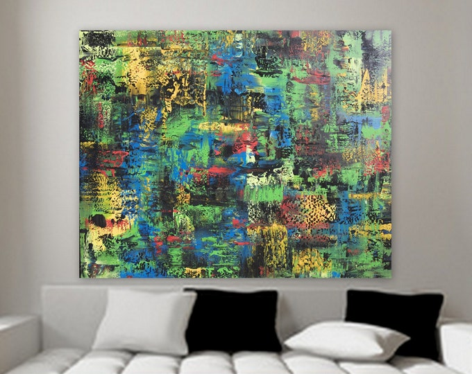 """XL abstract painting by Marcy Chapman large original artwork wall decor 60"""" x 48"""" huge abstract painting blue yellow black white nautical"""