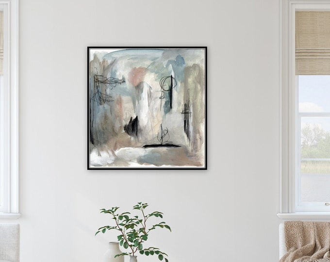 Modern abstract, farmhouse print by Marcy Chapman, original prints by the artist, mixed media painting, blue green wall art modern farmhouse