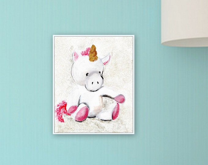 unicorn nursery art, kids room decor, cute unicorn, painting, original print, kids room, baby room decor, stuffed animal print, MECart