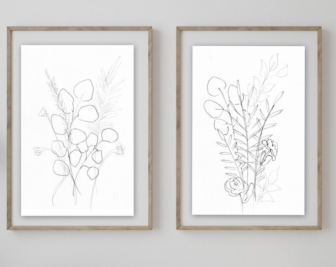 NEW black sketch botanical print set leaves and eucalyptus prints giclee' prints hand drawn from artist, signed prints, marcy chapman,