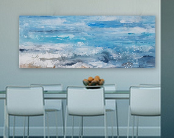 Abstract ocean painting by Marcy Chapman original painting with fluid acrylics abstract wave ocean artwork wall art table abstarct seascape