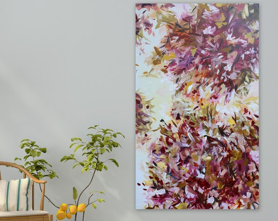 large abstract floral painting giclee print of original painting beautiful floral art pink yellow lavender purple violet xl abstract