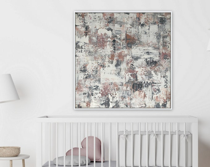 Pink and gray abstract textured canvas painting by Marcy Chapman 36 x 36 ready to hang