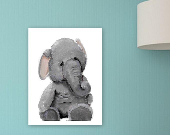 Elephant nursery art, kids room decor, cute elephant, painting, original print  kids room, baby room decor, stuffed animal print, MECart