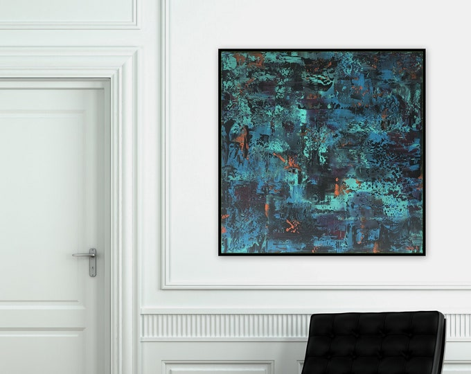 """Large 36"""" x 36"""" abstract painting by Marcy Chapman Original abstract wall art ready to hang"""