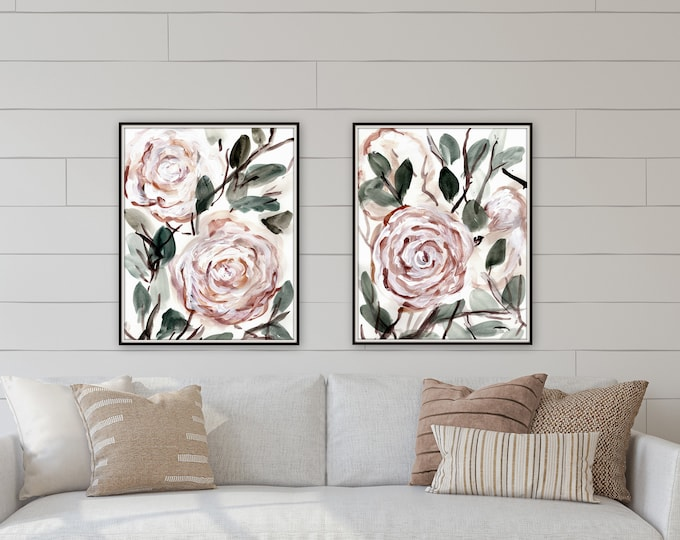 Botanical, pink floral farmhouse prints by Marcy Chapman, original prints by the artist, mixed media painting, floral wall art modern farm