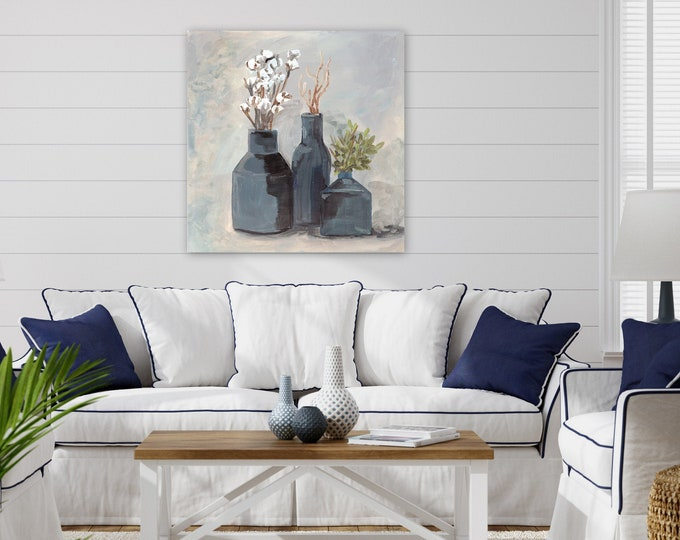 Extra large wall art blue vase with cotton farmhouse modern contemporary boho style original wall art