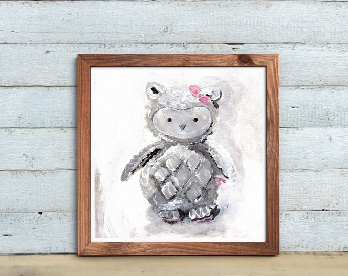 Owl nursery art, kids room decor, painting, original print, kids room, baby room decor, stuffed animal print, MECart