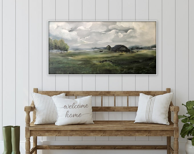 New Farmhouse acrylic painting, stretched canvas, gallery wrapped scenery painting, landscape, farm painting horses and sheep, marcy chapman