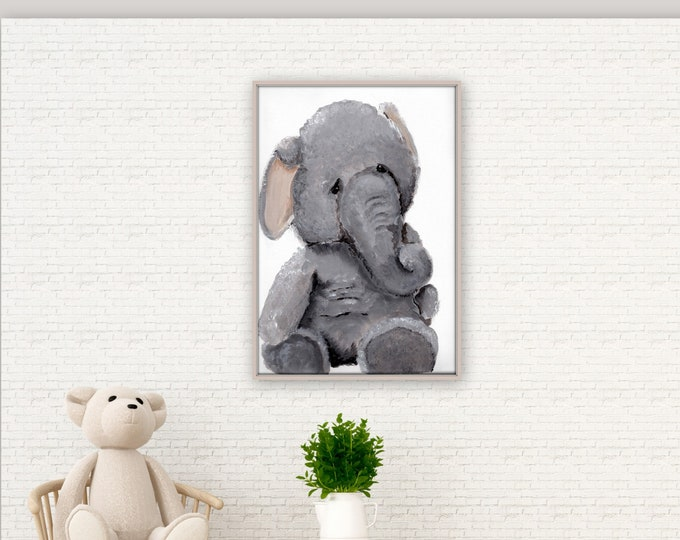 Elephant nursery art, kids room decor, cute elephant, painting, original print  kids room, baby room decor, stuffed animal print, MECart