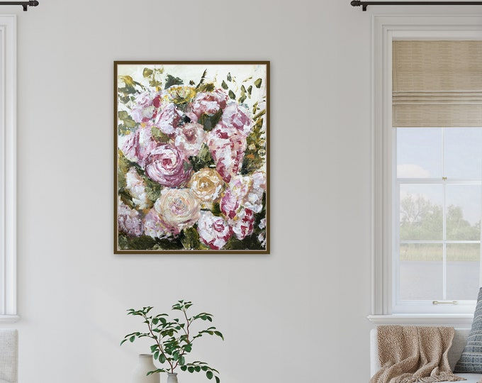 24 x 30 textured floral painting, art farmhouse wall art orginal painting by Marcy Chapman pink white yellowl colors