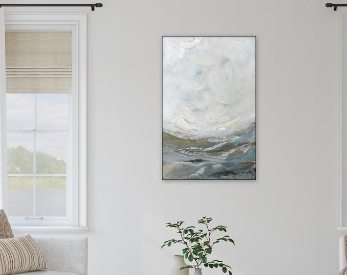 36 x 24 abstract landscape originalacrylic painting by Marcy Chapman, blue and gray toned pretty farmhouse, modern contemporary minimal art