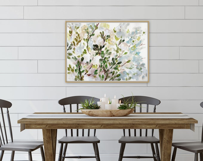 Farmhouse style floral art print, blue and light pink fowers, tree branches, pretty print, kitchen, dining, living, edrrom wall decor