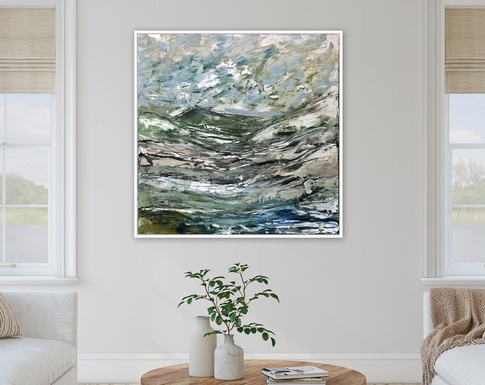 Large 36 x 36 Acrylic landscape painting, contemporary modern farmhouse original painting Marcy Chapman Stretched canvas wall art blue ivory
