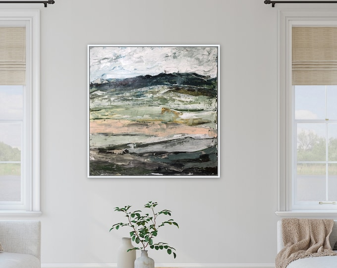 Large 36 x 36 Acrylic landscape paintings, contemporary modern original farmhouse wall art Marcy Chapman Stretched canvas wall art