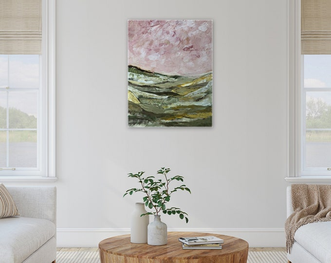pretty farmhouse decor, Pink and green lanscape painting large painting ORIGINAL wall art by Marcy Chapman