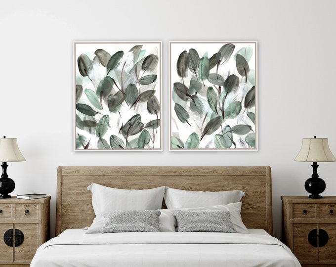Botanical, leafy floral farmhouse prints by Marcy Chapman, original prints by the artist, mixed media painting, green wall art modern