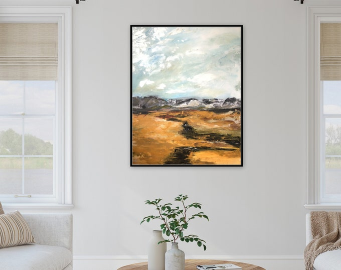 """30"""" x 24"""" horizontal Acrylic landscape paintings, contemporary modern original farmhouse wall art Marcy Chapman Stretched canvas wall art"""
