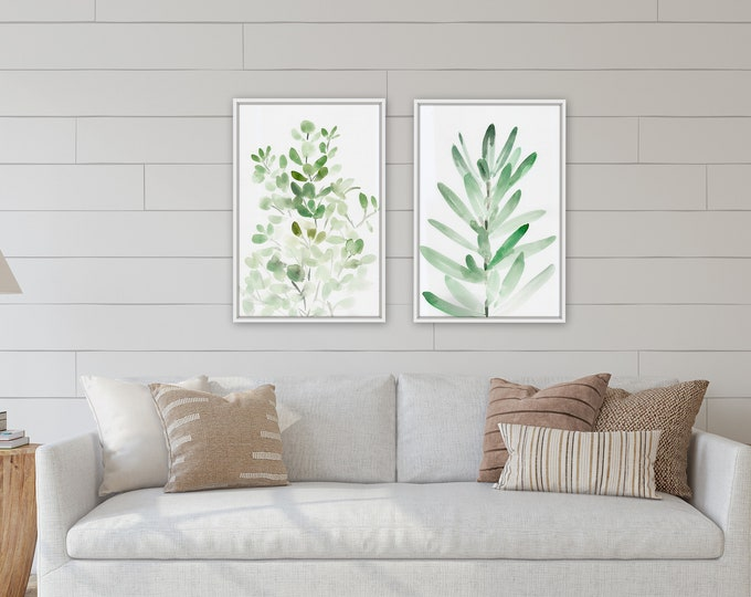 Large green botanical living room art by Marcy Chapman, original print from the artist, farmhouse wall art decor, paper print,
