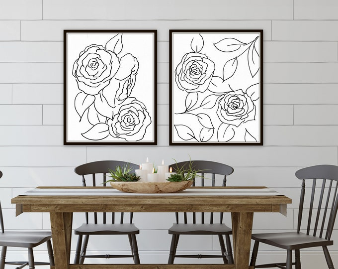 NEW black sketch botanical print set leaves and eucalyptus prints giclee' prints hand drawn from artist, signed art prints, marcy chapman,