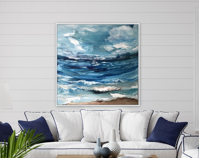 XL ocean nautical wall art, original painting by Marcy Chapman ready to hang, blue seascape abstract contemporary art, farmhouse style sea