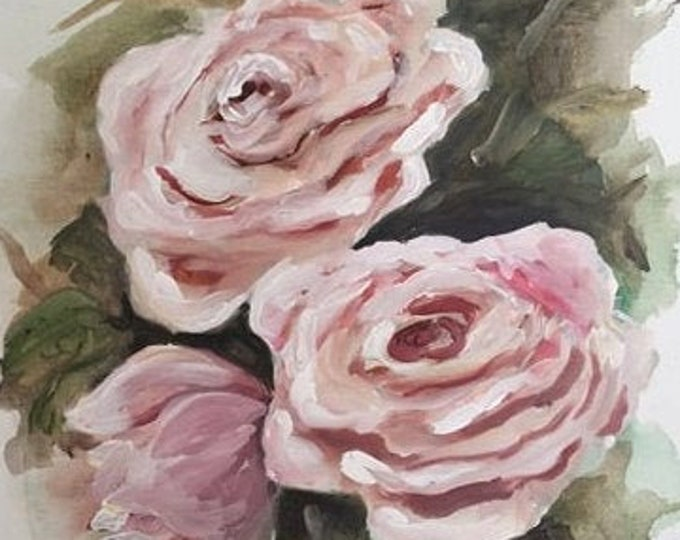 Semi-abstract floral painting rose wall art pretty wall art for home decor canvas painting unstretched canvas painting roses