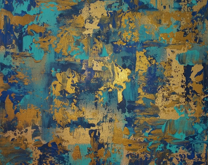 acrylic abstract painting Turquoise, gold/ bronze, blue painting small modern abstract painting by Marcy Chapman  Gracefulness