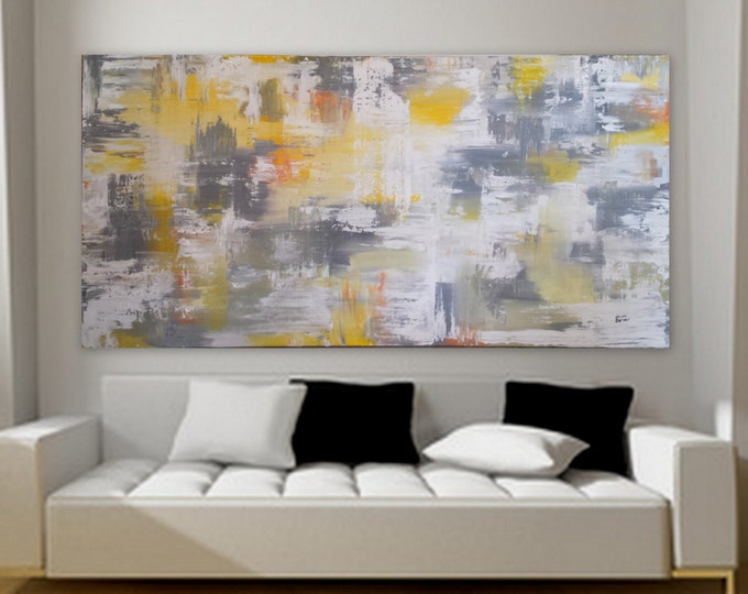 Huge Extra Large Painting Abstract Modern Contemporary Paintings by Marcy Chapman wall art decor enormous big black yellow gray white XL XXL