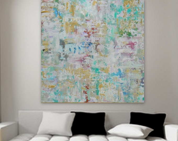Large Original abstract painting tuquoise blue yellow pink wall art decore modern contemporary artwork