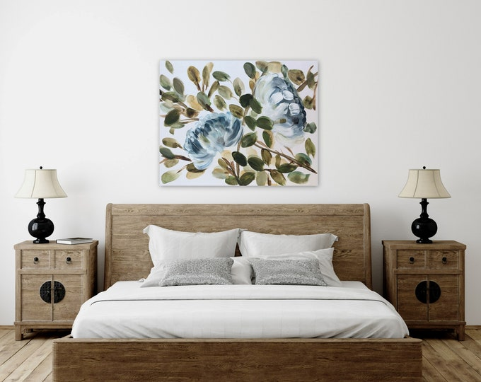 XL extra large huge painting custom order by Marcy chapman paintings on stretched canvas blue floral farmhouse modern contemporary boho art