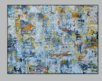 Large abstract painting original artwork wall art canvas painting Wall decor Abstract Painting Yellow abstract gray abstract blue