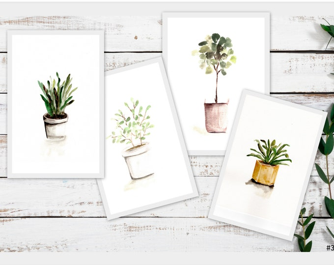 Set of 4 farmhouse potted plant prints, by marcy chapman, ready to frame wall art country wall art pots, botanical print