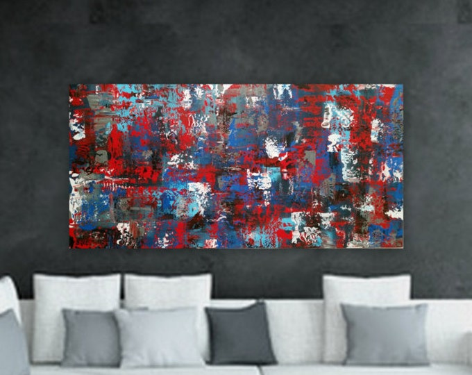 Large navy blue white light blue red black original abstract modern painting  gallery wrapped large abstract painting
