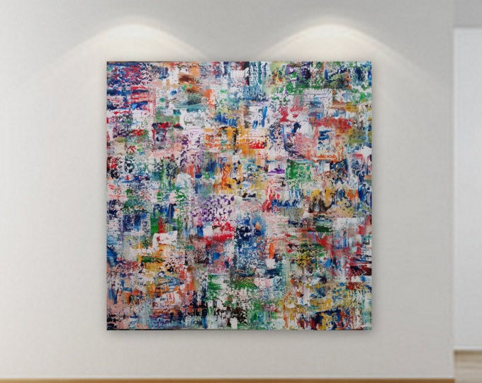XL  48 x 48 huge Large turquoise blue green purple red orange yellow abstract modern painting gallery wrapped wood frame large abstract