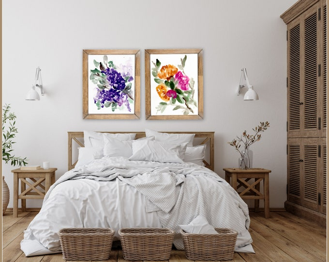 Botanical, floral farmhouse prints by Marcy Chapman, original prints by the artist, signed, painting, floral wall art modern farmhouse