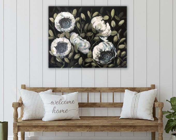 Dark navy blue background white peonies Original acrylic paintings by Marcy Chapman