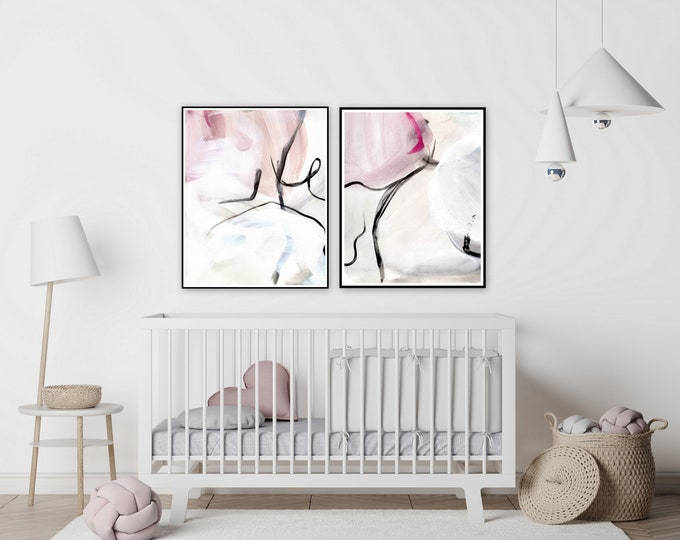 Botanical, pink farmhouse nursery prints by Marcy Chapman, original prints by the artist, mixed media painting, abstract wall art modern