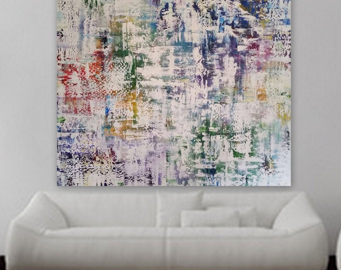 """XL abstract painting XXl abstract original Custom 75"""" x 63"""" huge abstract painting blue red orange purple pink white. Modern painting large"""